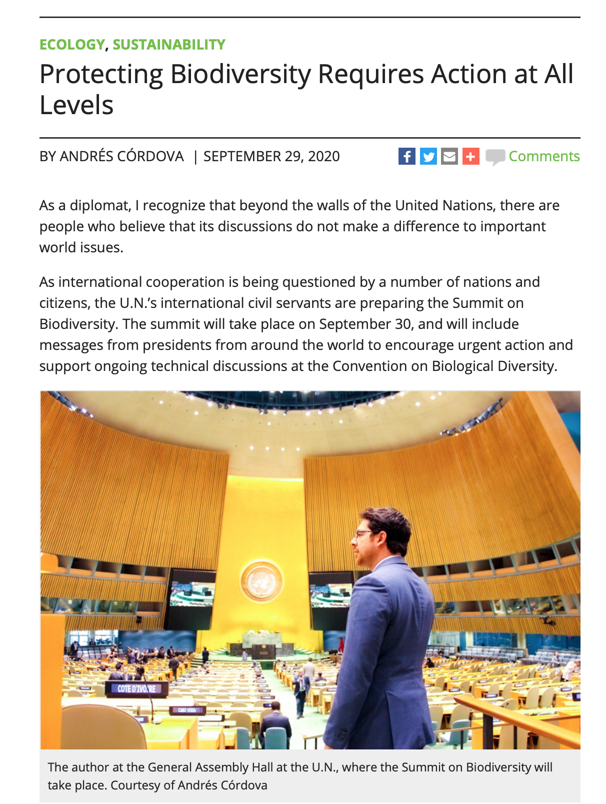 Protecting Biodiversity Requires Action at All Levels - Andres Cordova, 29 sep 2020